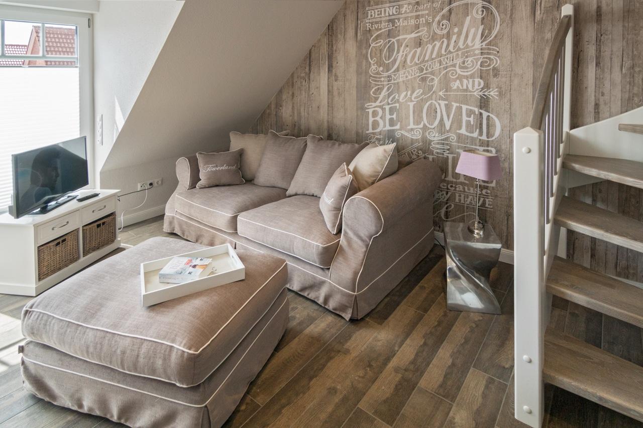 Wohnzimmer Ferienwohnung Töwerland